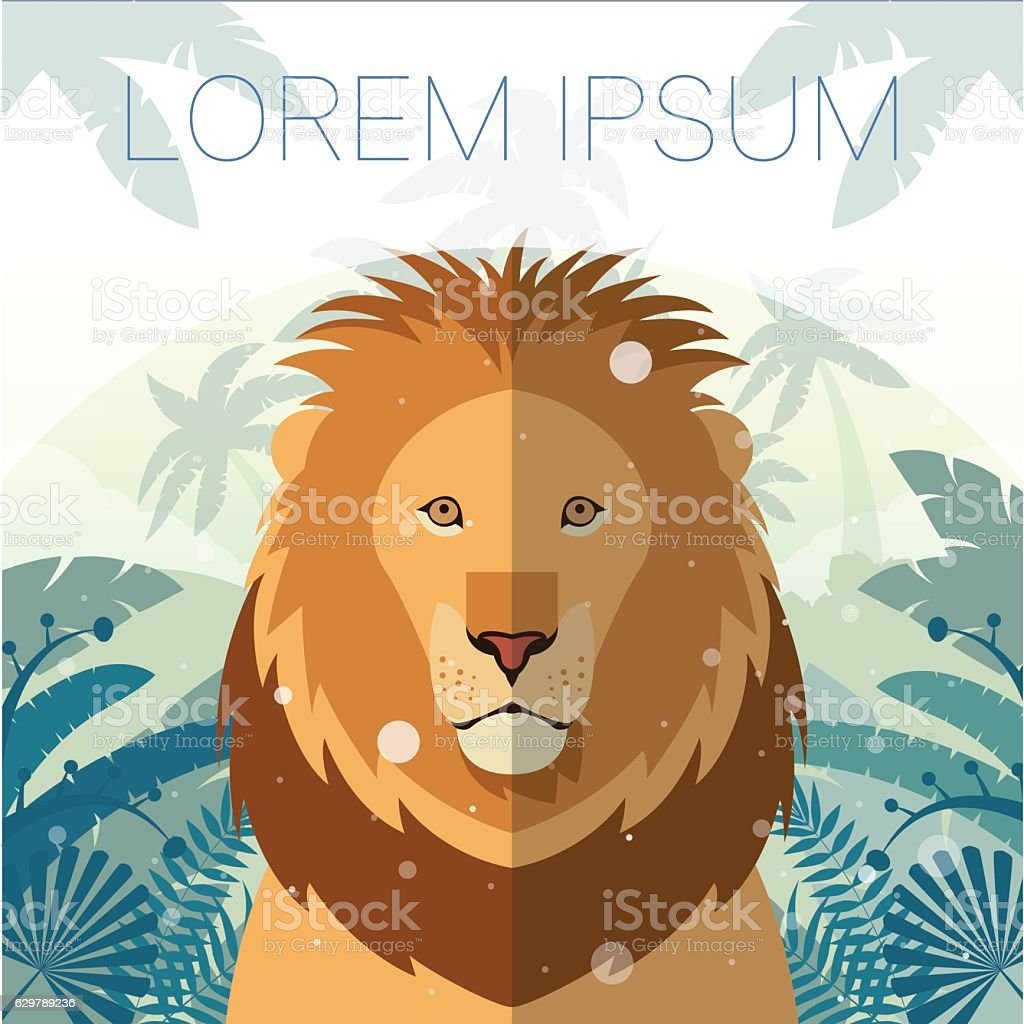 Lion on the Jungle Background vector art illustration