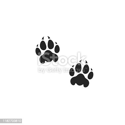 istock Lion paw print. Wild animal 1182703810