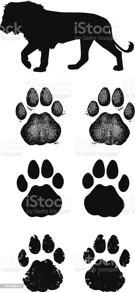 Lion Paw Prints vector art illustration