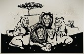 """Pen and Ink style illustration of a lion. Check out my """"Vectors Animals & Insects"""" light box for more."""