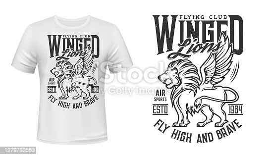 Lion print t-shirt mockup, aviation flying club vector icon. Aviators and airplane pilots academy symbol of roaring lion with wings, Fly High and Brave slogan for t shirt print