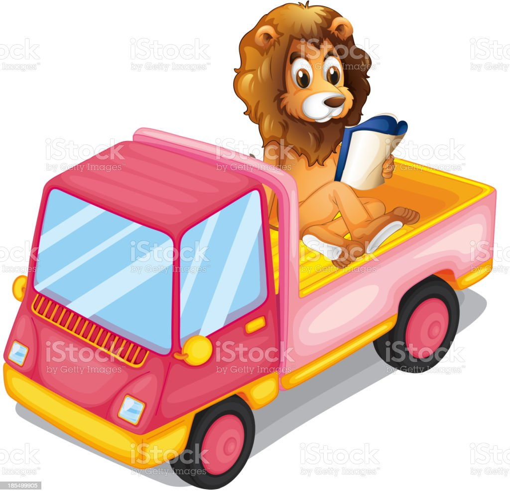 lion reading book at the back of a truck royalty-free stock vector art