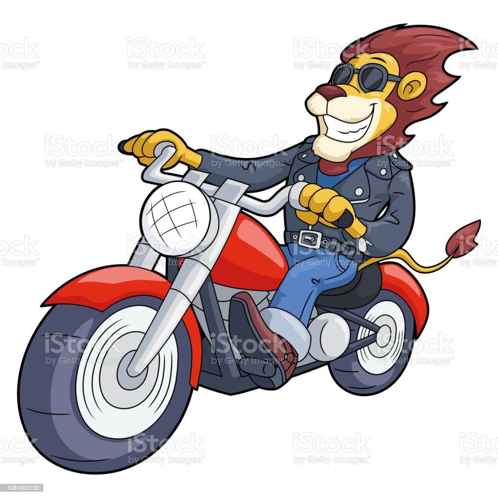 Lion Riding Motorbike At High Speed Stock Illustration Download Image Now Istock