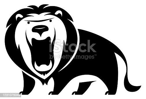 istock lion roaring silhouette 1231075049