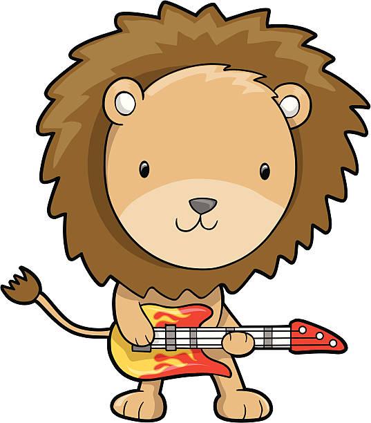Lion Rock Star Vector vector art illustration