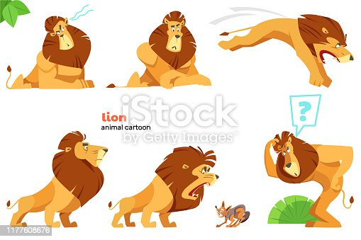 Lion. Set of cute lion character with different action poses, isolated on white background