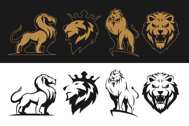 Lion set Lion set in vector lion stock illustrations