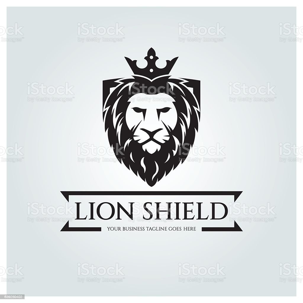 Lion shield logo vector art illustration