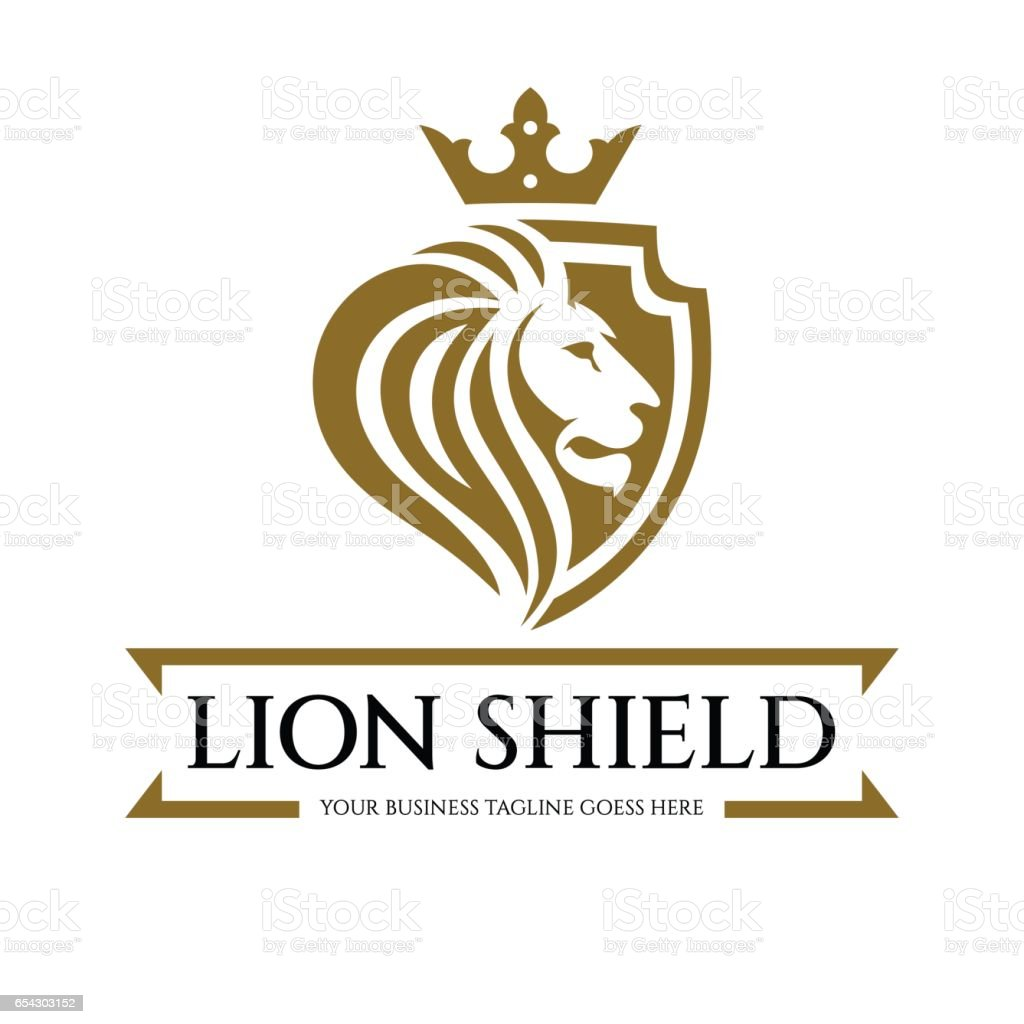 Lion bouclier logo - Illustration vectorielle