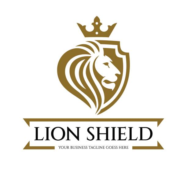 lion shield logo - lion stock illustrations, clip art, cartoons, & icons
