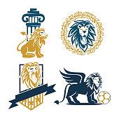 Lion Shield Soccer Law Design Symbol Template Vector Set