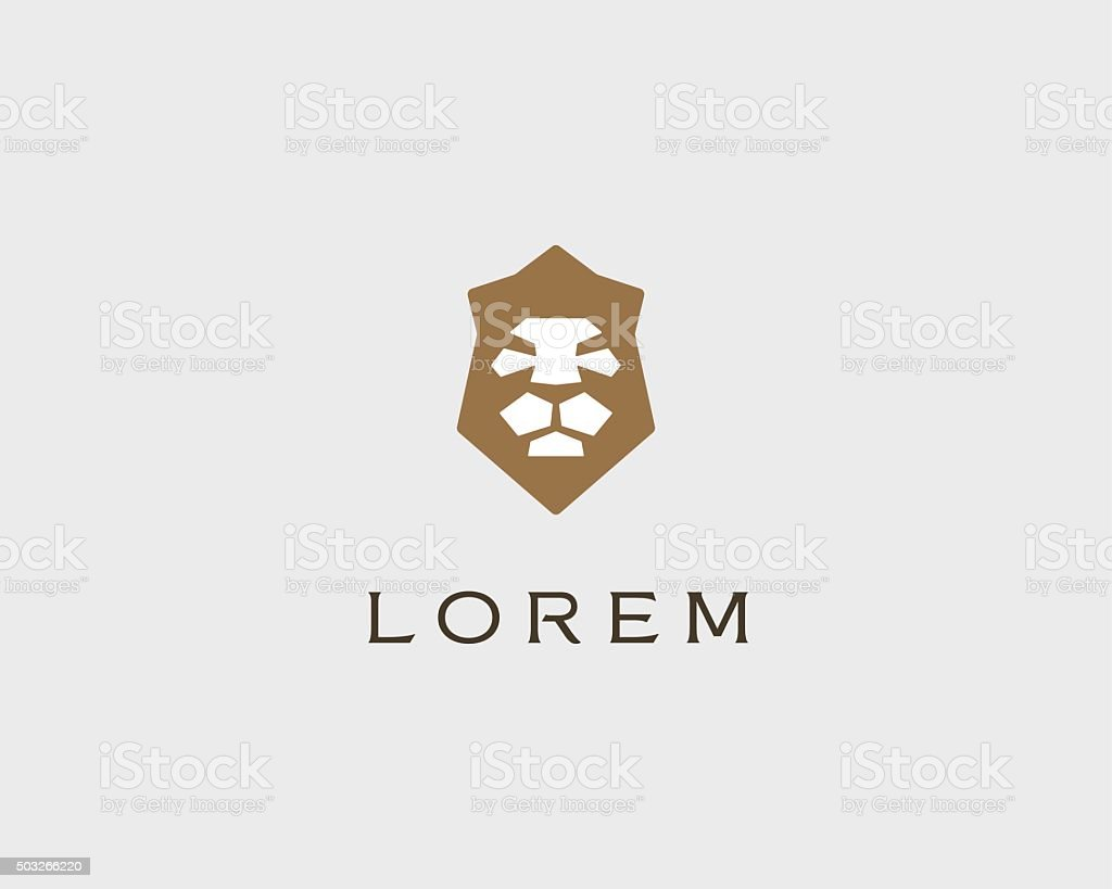 Lion shield vector logo design template. Universal premium elegant creative vector art illustration