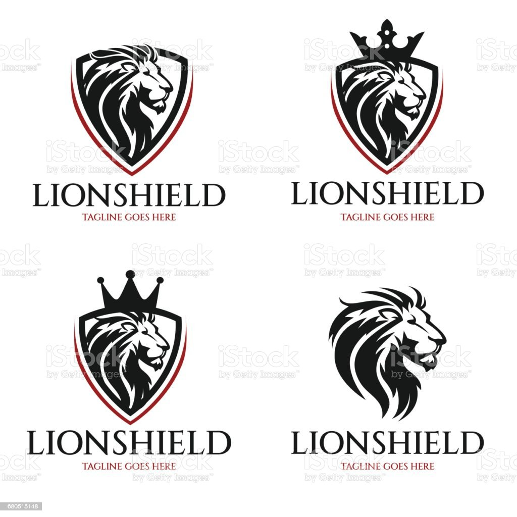 Lion shield vector vector art illustration