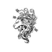 """Lion Silhouette Skull Clipart  for your work Logo merchandise t-shirt, stickers and Label, poster, greeting cards advertising business company or brands.""""n"""