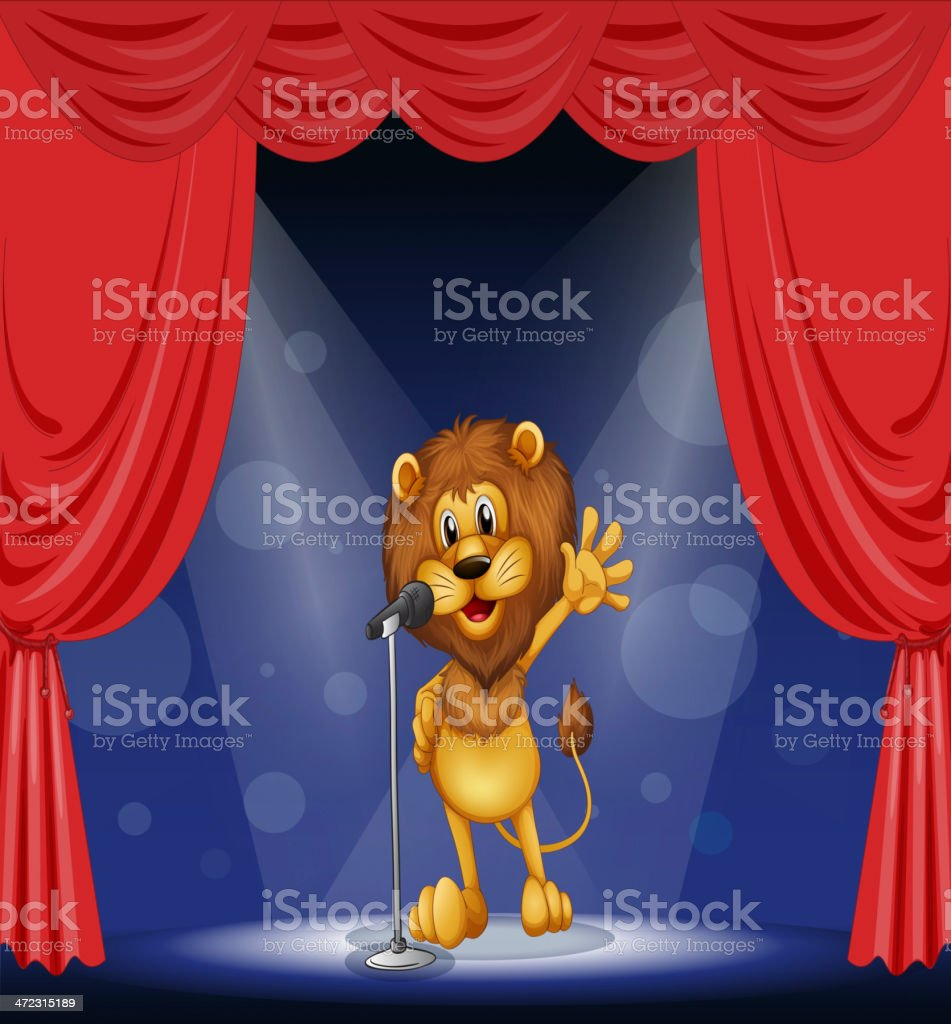 Lion singing at center of the stage royalty-free stock vector art