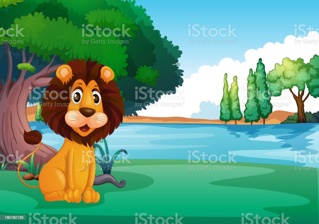 Lion sitting along the river royalty-free lion sitting along the river stock vector art & more images of animal
