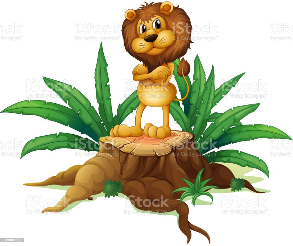 lion standing above the wood royalty-free stock vector art
