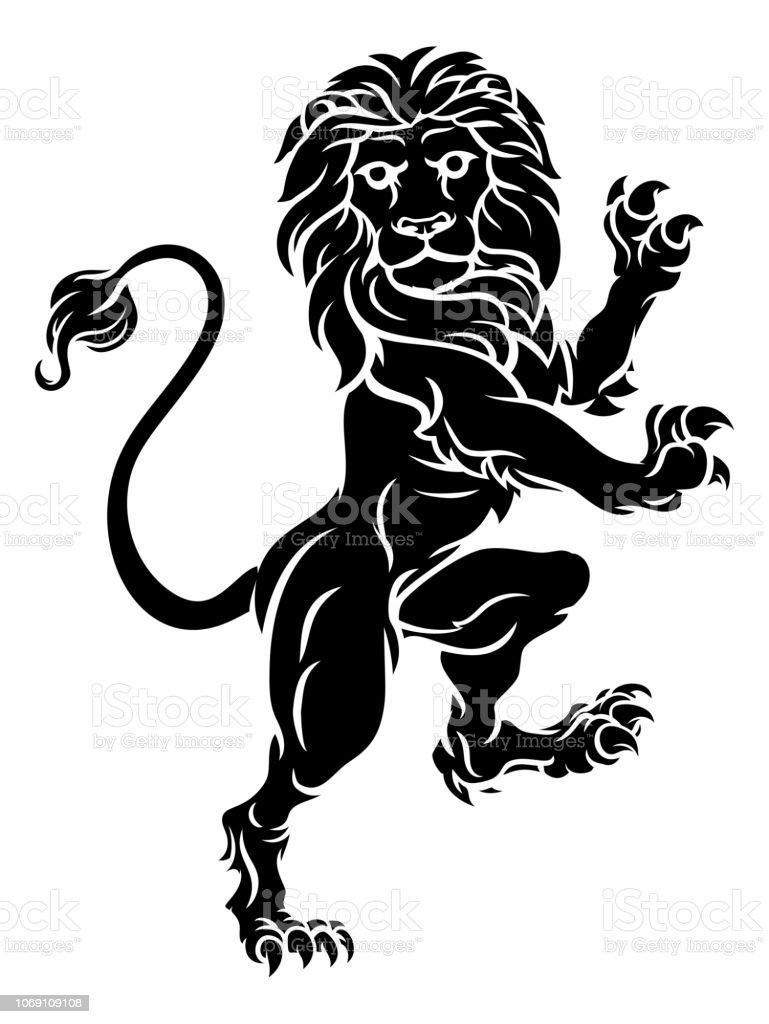 4243507ee3caf Lion Standing Rampant Heraldic Coat Of Arms Crest Stock Vector Art ...