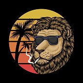 Lion Sunset Retro vector illustration for your company or brand
