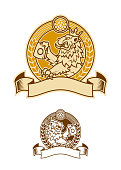 Stylized lion in crown with beer mug on emblem with hop and ribbon for your text line