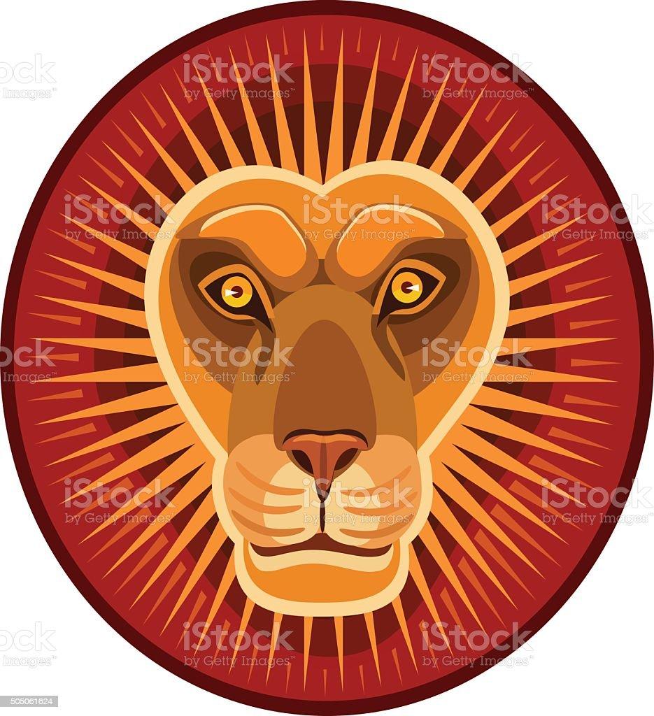 lion symbol of the sun vector art illustration