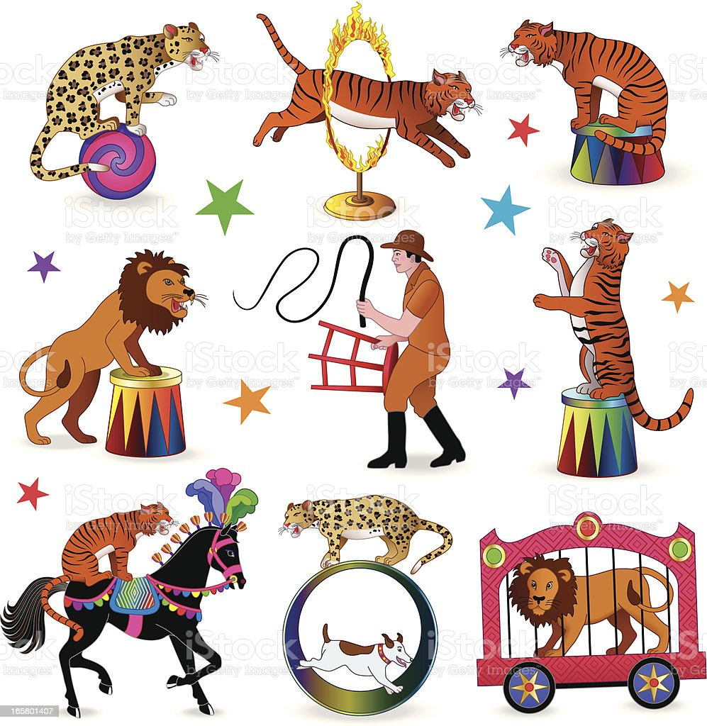lion tamer circus act vector art illustration
