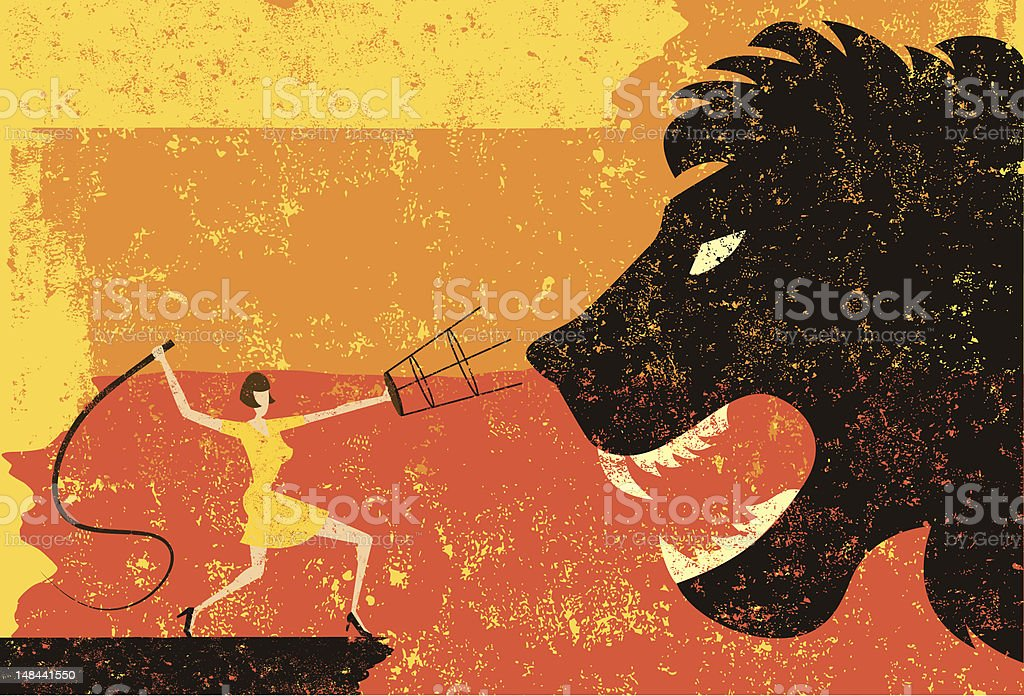 lion tamer vector art illustration
