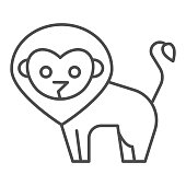 Lion thin line icon. Minimalistic style silhouette of standing wild nature animal. Animals vector design concept, outline style pictogram on white background, use for web and app. Eps 10