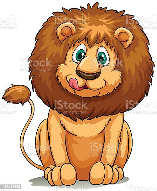 A hungry lion on a white background