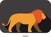 Lion walking side flat 3D icon design