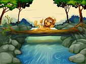 lion with a crown at the river