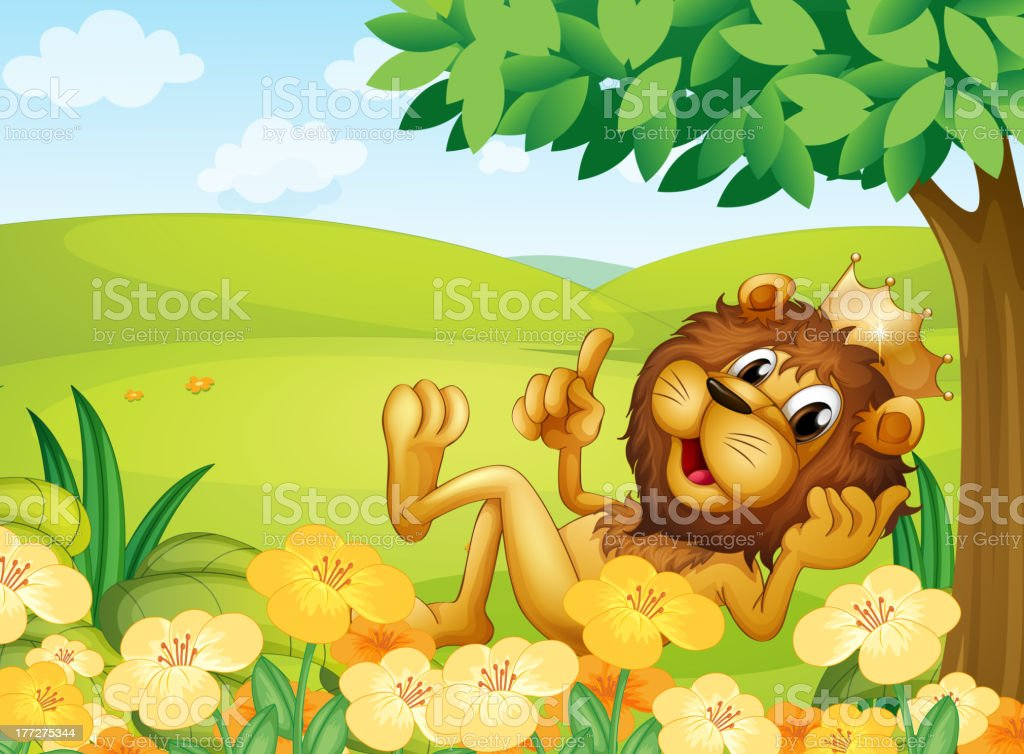 Lion with crown near tree in the hill royalty-free stock vector art