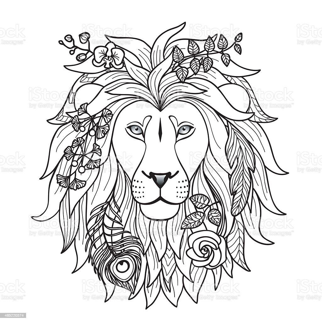 Lion With Flowers Stock Illustration - Download Image Now ...Lion Head Coloring Pages