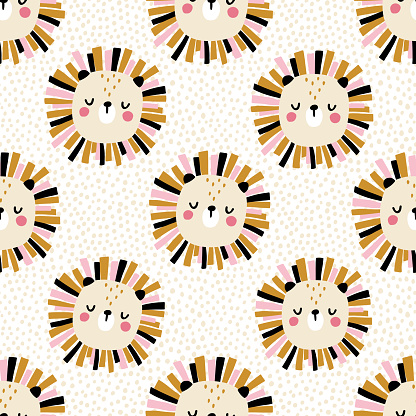 Lion with polka dots. Seamless pattern with cute animals faces. Childish print for nursery in a Scandinavian style. For baby clothes, interior, packaging. Vector cartoon illustration in pastel colors