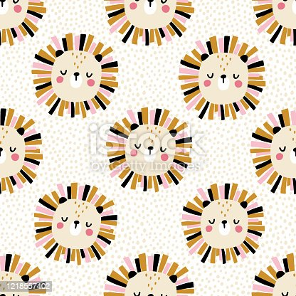 istock Lion with polka dots. Seamless pattern with cute animals faces. Childish print for nursery in a Scandinavian style. For baby clothes, interior, packaging. Vector cartoon illustration in pastel colors 1218557402