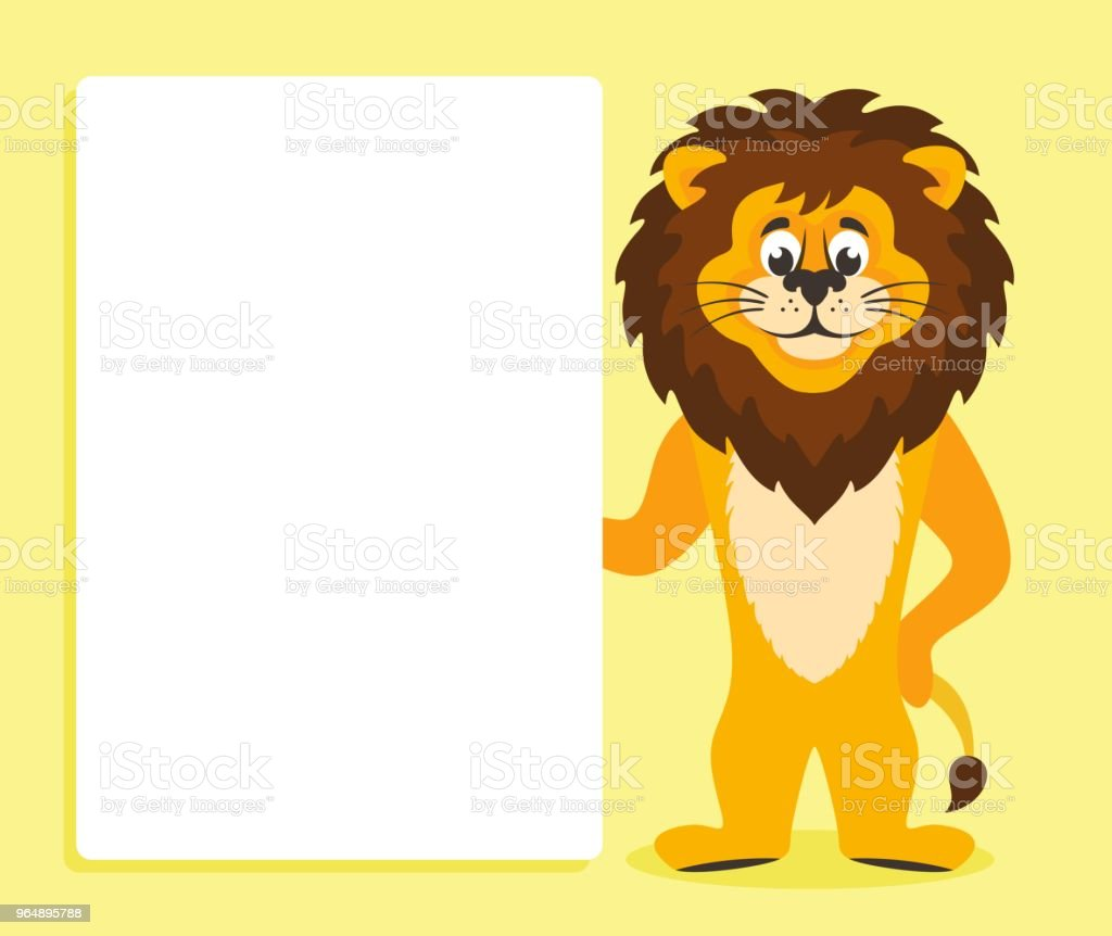 Lion with white board. royalty-free lion with white board stock vector art & more images of africa