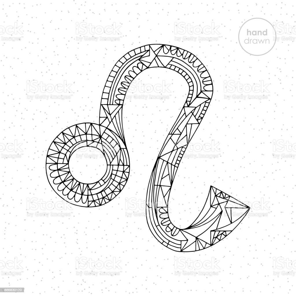 Aslan Burcu Vektor El Cizilmis Astroloji Leo Illustrasyon