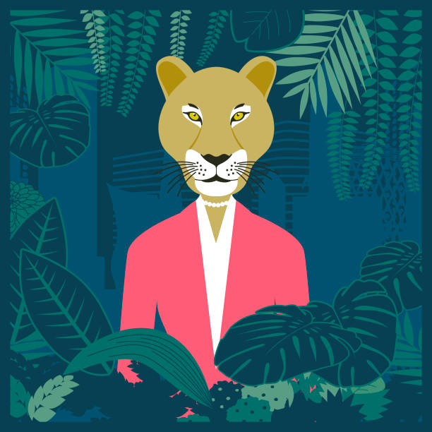 Lioness in the business jungle vector art illustration