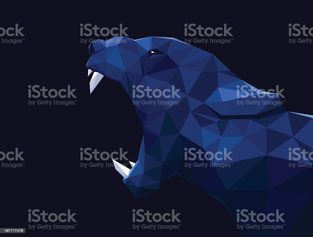 Lioness, lion low poly design. Panther, cheetah polygon vector vector art illustration