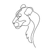 Lion portrait in continuous line art drawing style. Lioness profile minimalist black linear sketch isolated on white background. Vector illustration