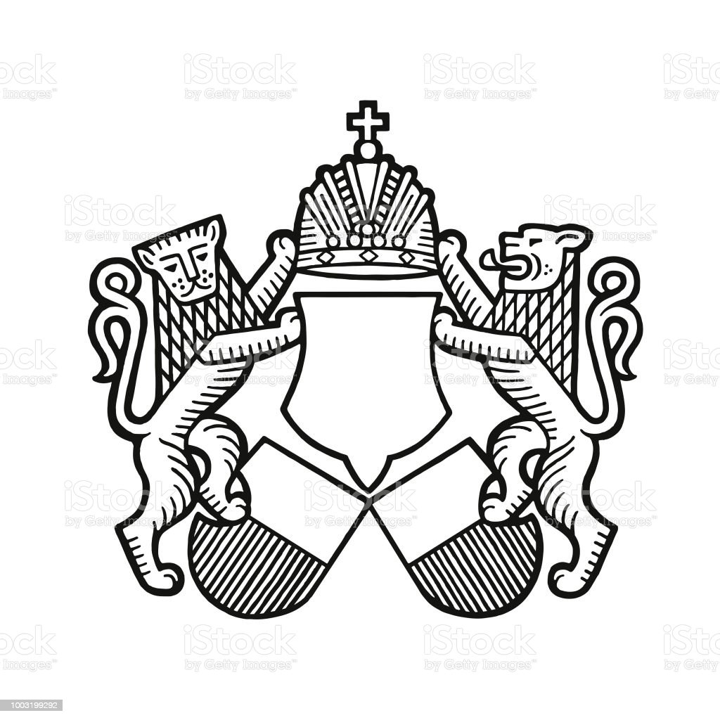Lions and a Crest vector art illustration