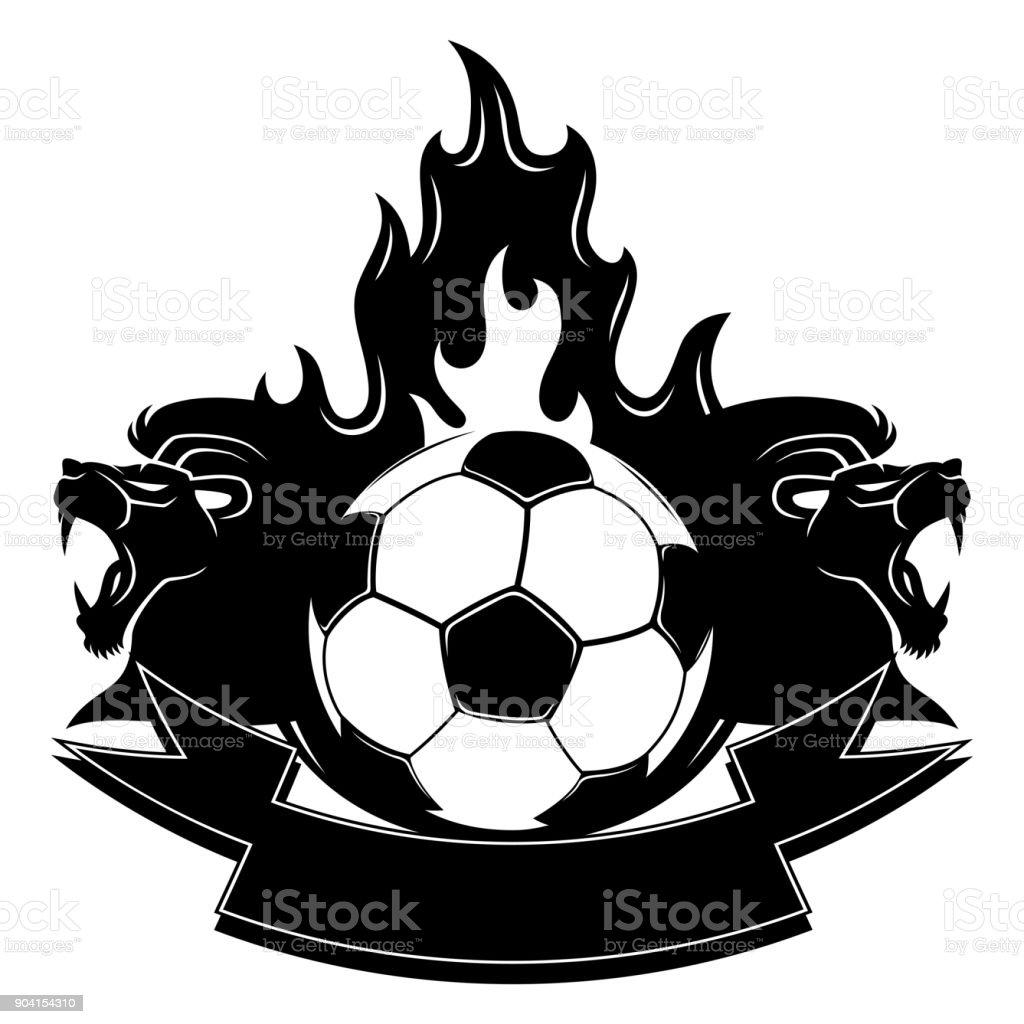Leones y un balón de fútbol ardiente. ilustración de leones y un balón de  fútbol 155715c3d5a1c