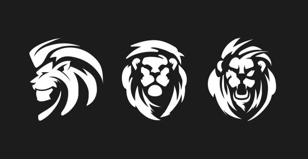 lions black and white emblems. - lion stock illustrations, clip art, cartoons, & icons