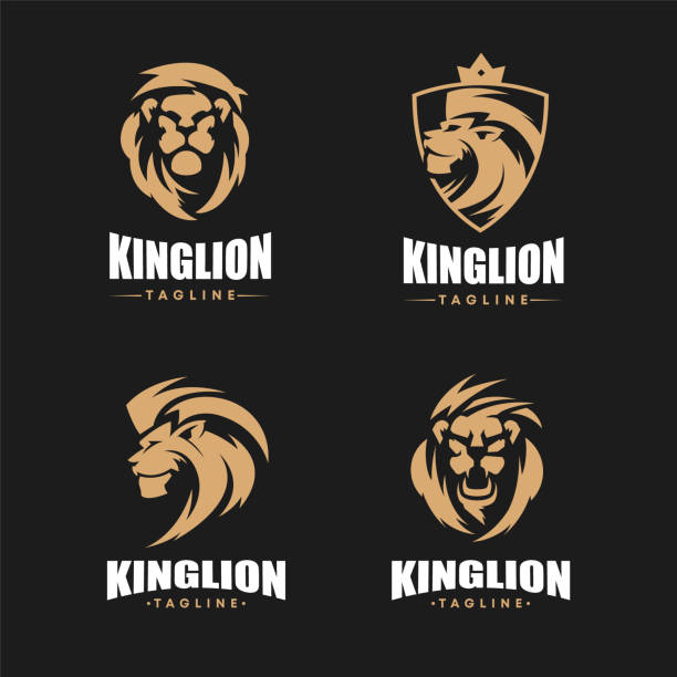 Lions black and white emblems. Lion symbols. Lions emblem Design. lion stock illustrations