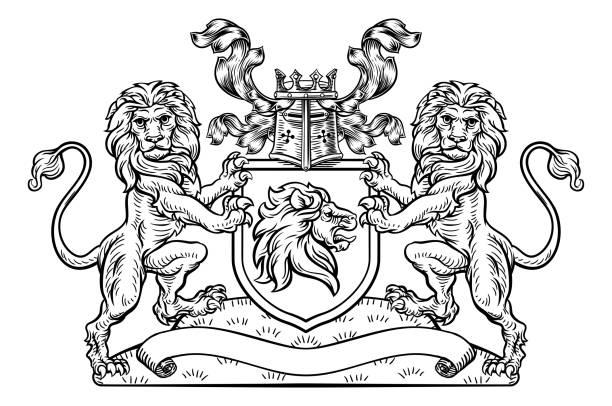 bildbanksillustrationer, clip art samt tecknat material och ikoner med lions krön skärmemblem heraldiska vapen - släktvapen