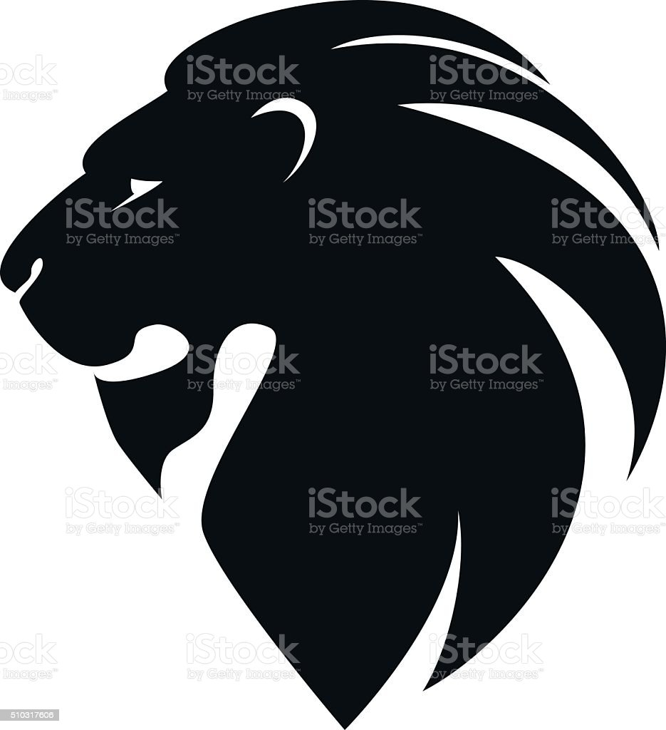 lion's head in profile. Template Logo vector art illustration