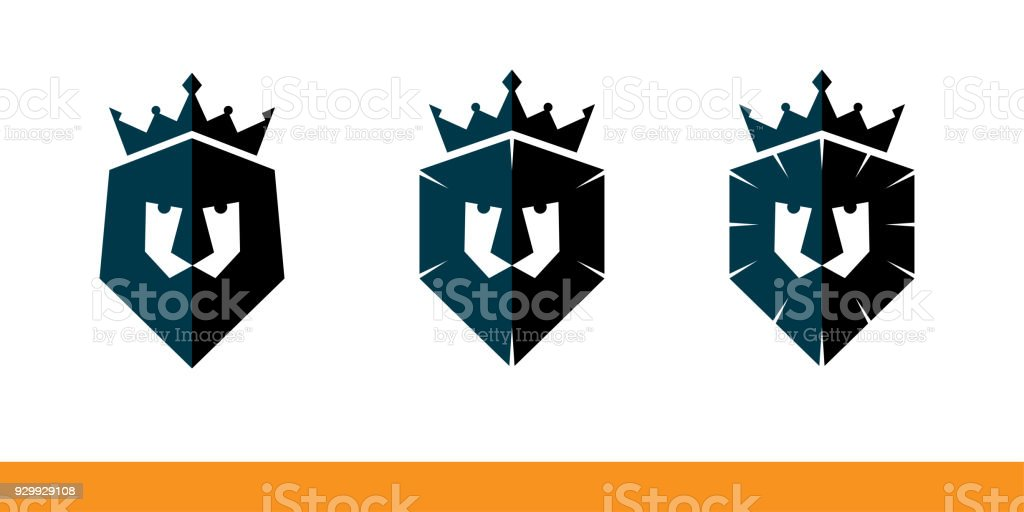 Lions Head Or Shield With Crown Company Name Stock Vector Art More