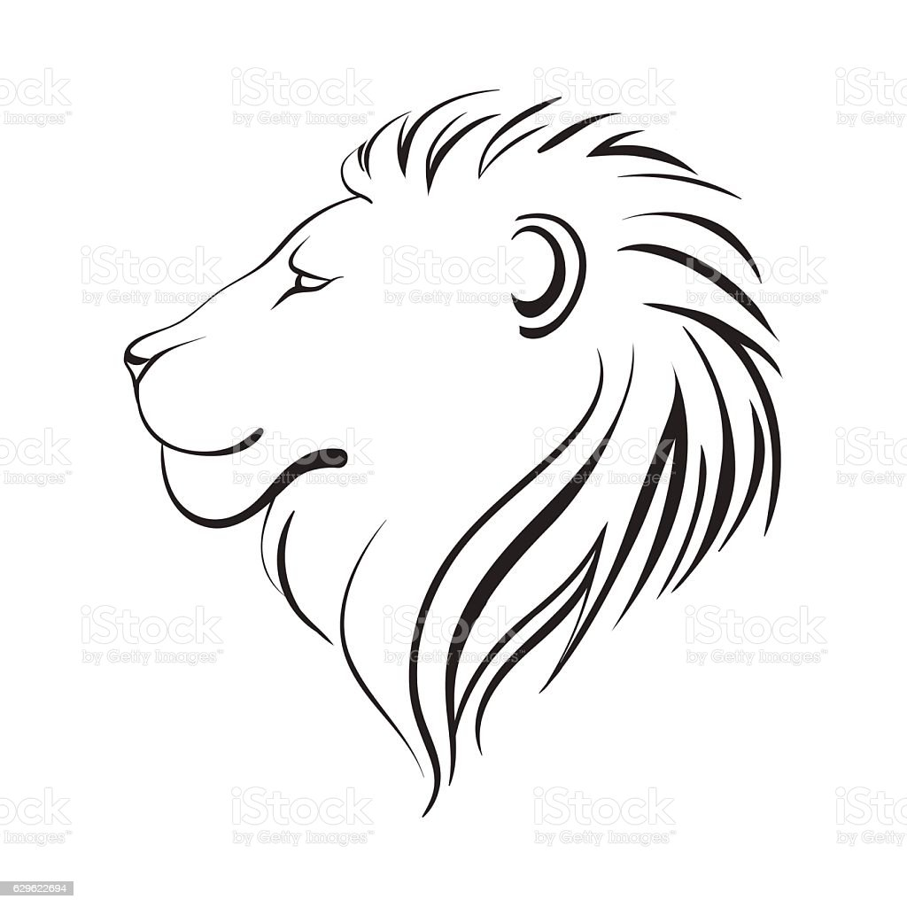 lions head profile black outline royalty free stock vector art