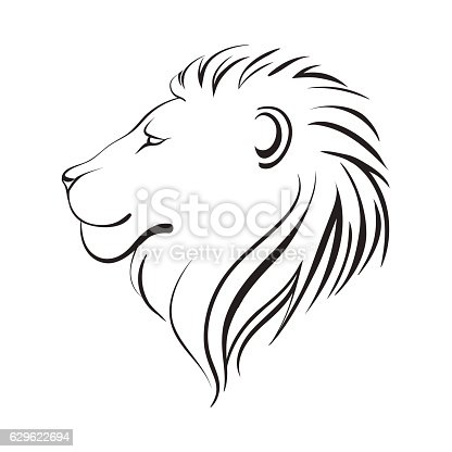 Isolated lions head, vector illustration, linear art. Lion's profile in black and white.