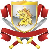 Lions head shield, swords and banners